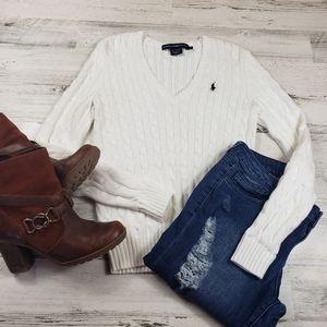 Ralph Lauren cable knit sweater White v-neck shirt